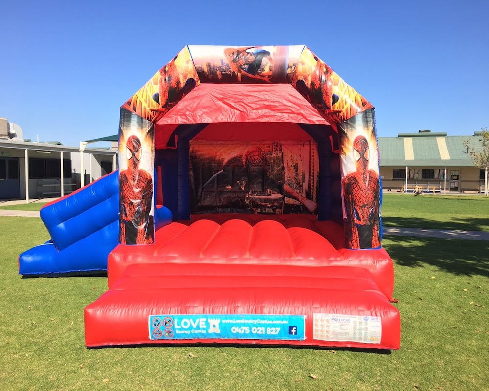 Spiderman bouncy castle hire with slide Baldivis