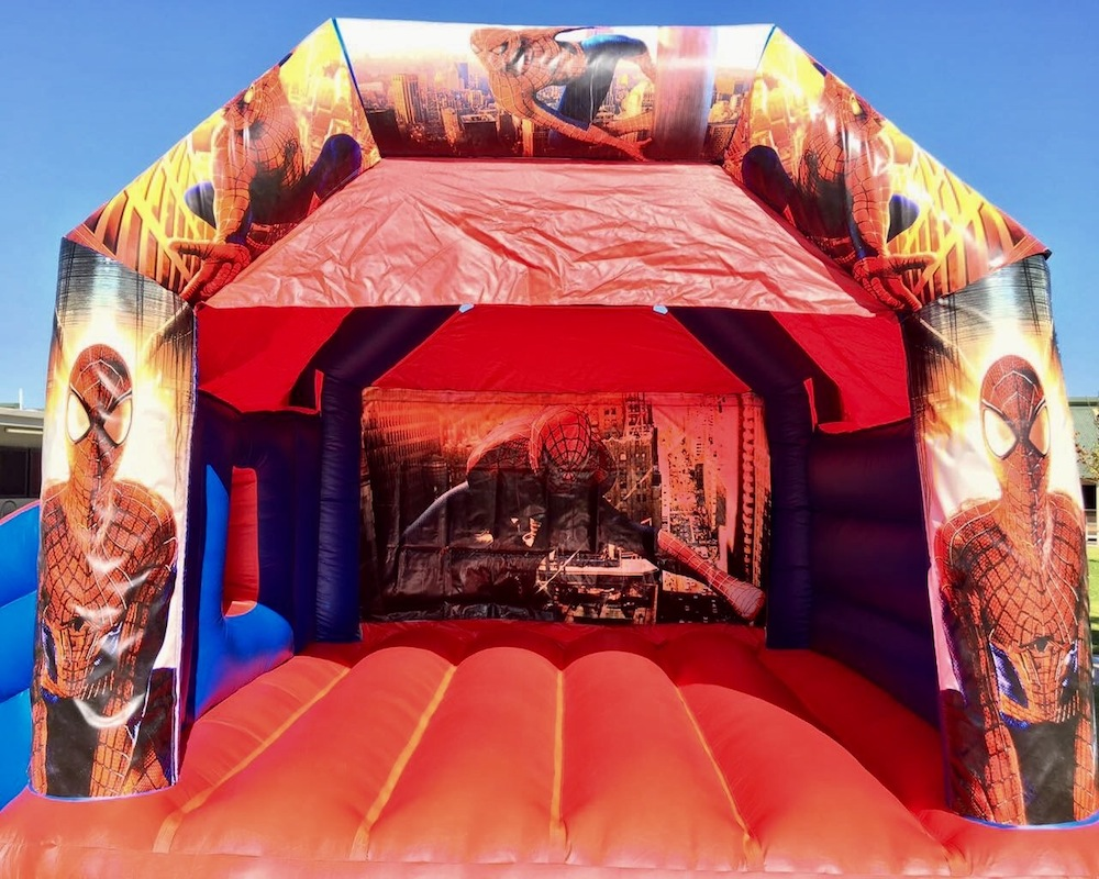 Spiderman bouncy castle hire with slide Mandurah
