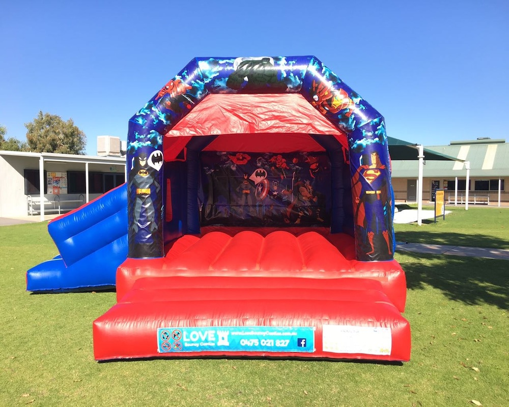Super heros combo bouncy castle hire