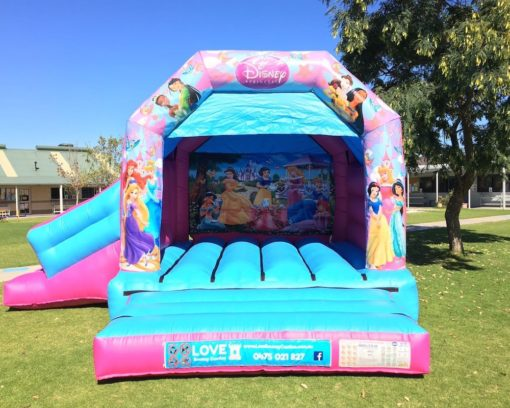 Princess bouncy castle hire with slide Baldivis