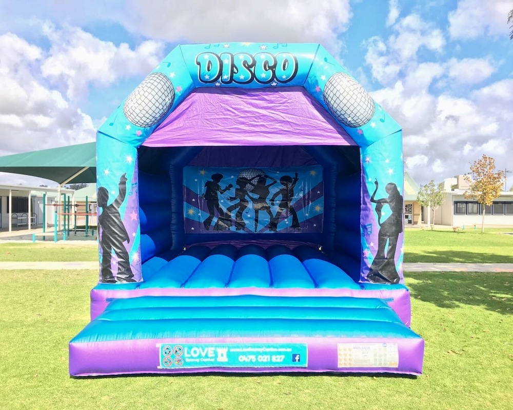 Disco Fever Blue Bouncy Castle