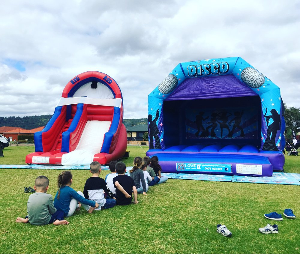 Inflatable water slide set up in Perth