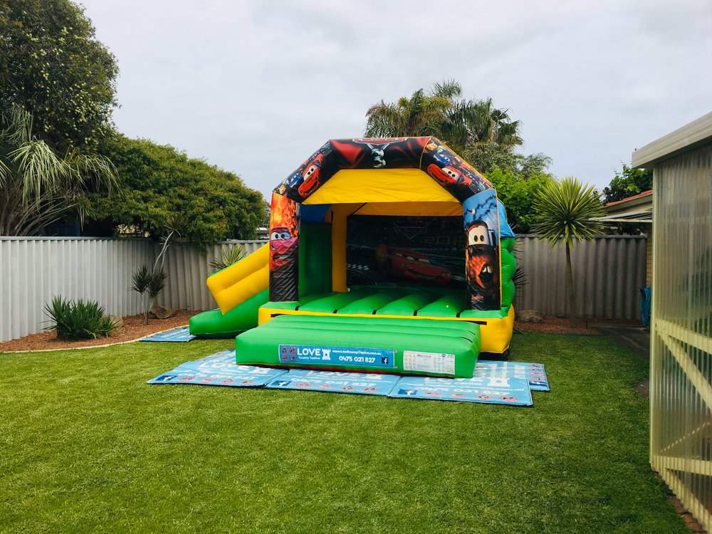 Cars Bouncy Castle With Slide Set Up In Mandurah, 6210