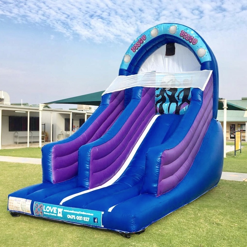 "Inflatable Slide Hire Perth - "" The girls loved the slide and loved the disco ball and music. Thanks again Emma ""ADD A HOSE AND MAKE ME A WATER SLIDE !Day hire – 8am to 4pmNight hire – 5pm to 7am the following morningSize 4.5mL x 3.6mW x 4.5mHSuitable from 3yrsCapacity 4 children or 4 adults$299+GST All Day or Night Hire"