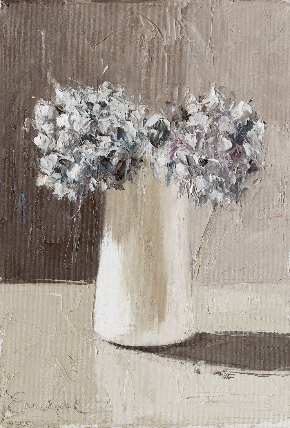 Oil painting of hydrangea in vase