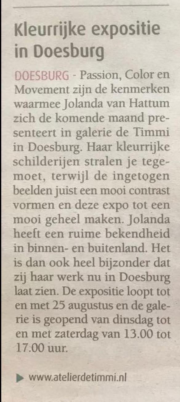 Mooi Pers stukje in de regiokrant Doesburg 30 juli.