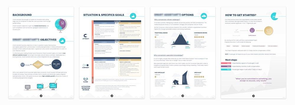 Ejemplo de diferentes páginas pertenecientes a una auditoría realizada para un cliente.