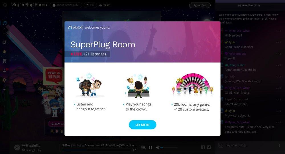 """Nueva versión: Un """"welcome popup"""" aparece, creando el contexto sobre qué es Plug.dj. Cuando el usuario cliquea en """"Let me in""""..."""