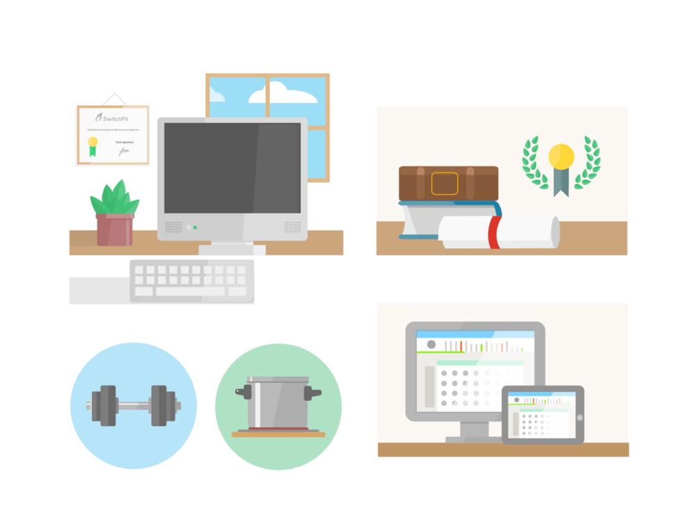 Ejemplo de ilustraciones hechas para la web de SwitchFit.