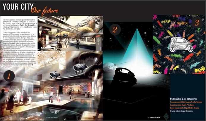 """Segunda posición en el concurso """"Your City, Our future"""" de  Renault Twizy y  H maganize."""