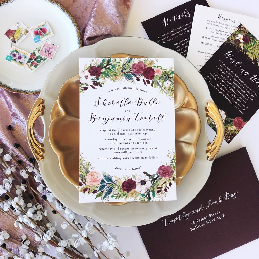 burgundy wedding invitation, floral invitation, custom wedding invite