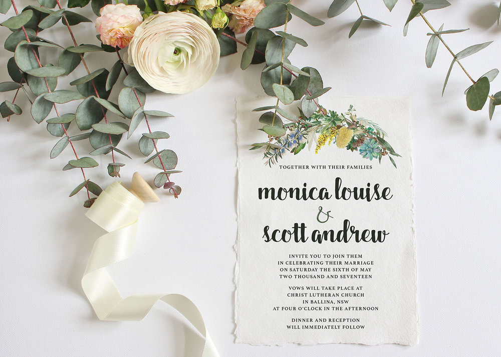 Australian Native flowers, wedding invitation, succulent greenery, eucalyptus, deckled edge paper