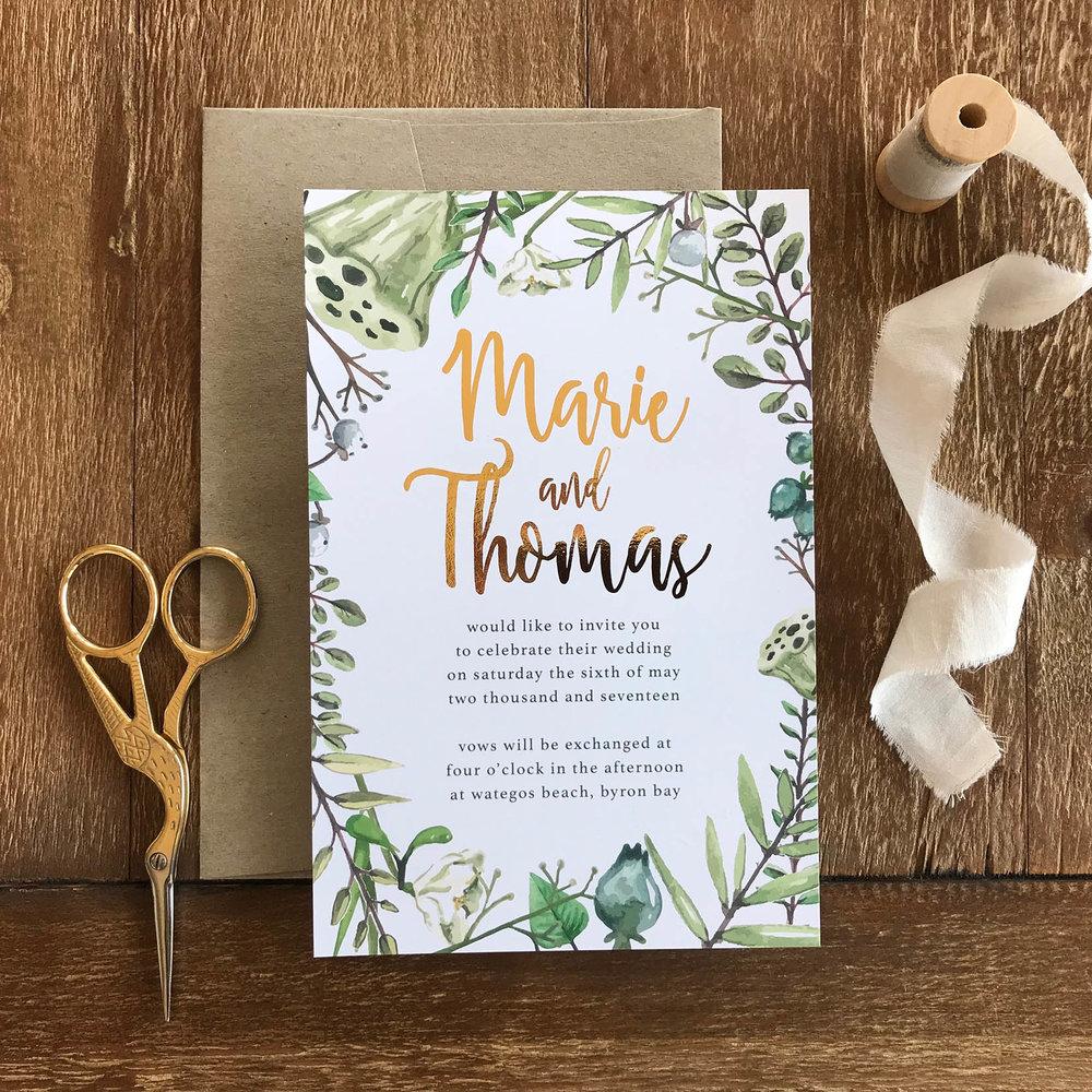 ficus and fig botanicals wedding invitation gold foil.jpg