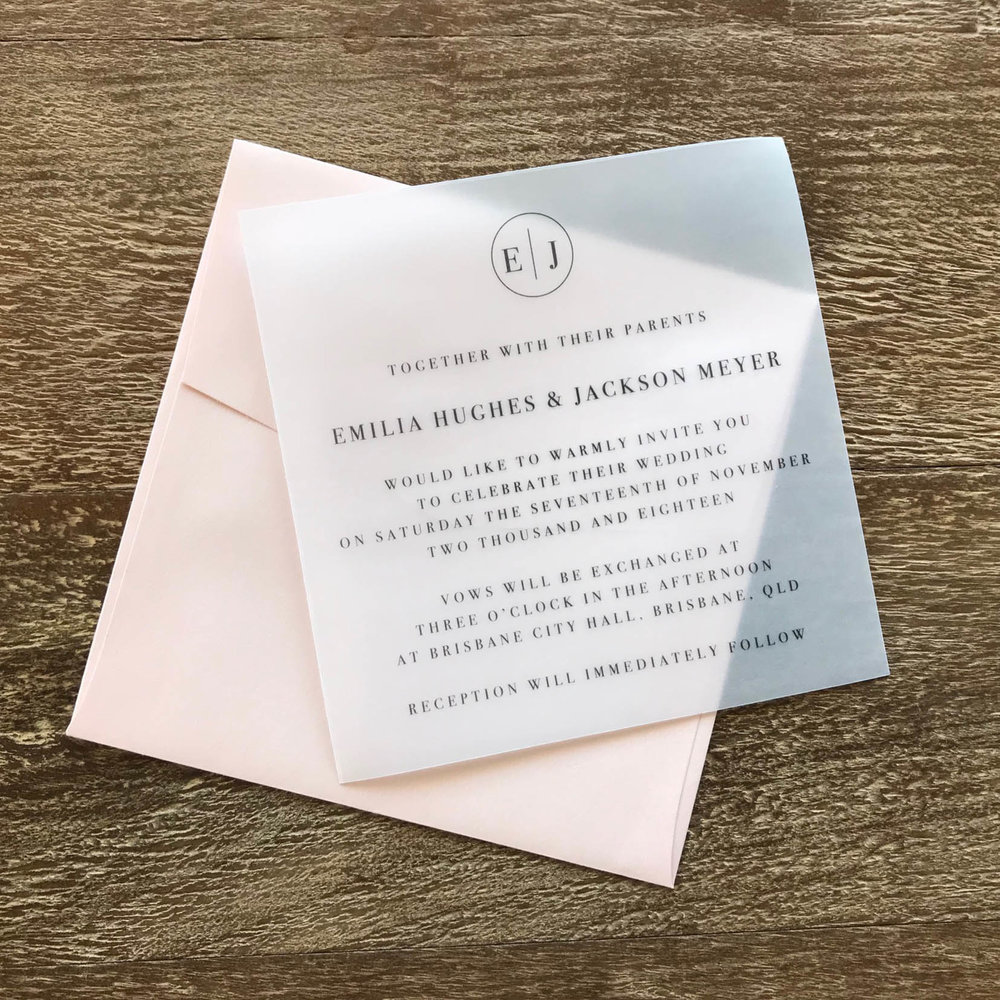 ficus and fig design translucent vellum modern wedding invitation