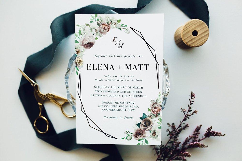 ficus and fig design rose gold foil geometric wedding invitation