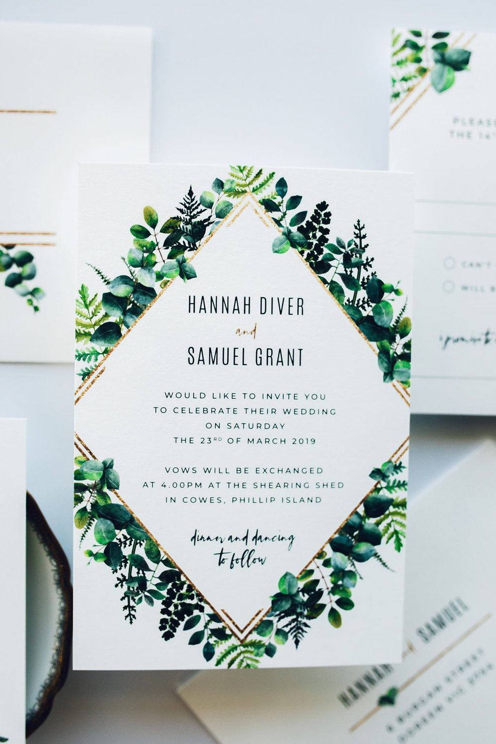 Our new 'Greenery and Gold' invitation.