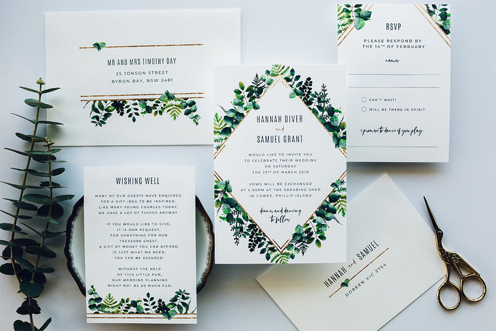 Australian natives, greenery, eucalyptus, modern geometric wedding invitation suite