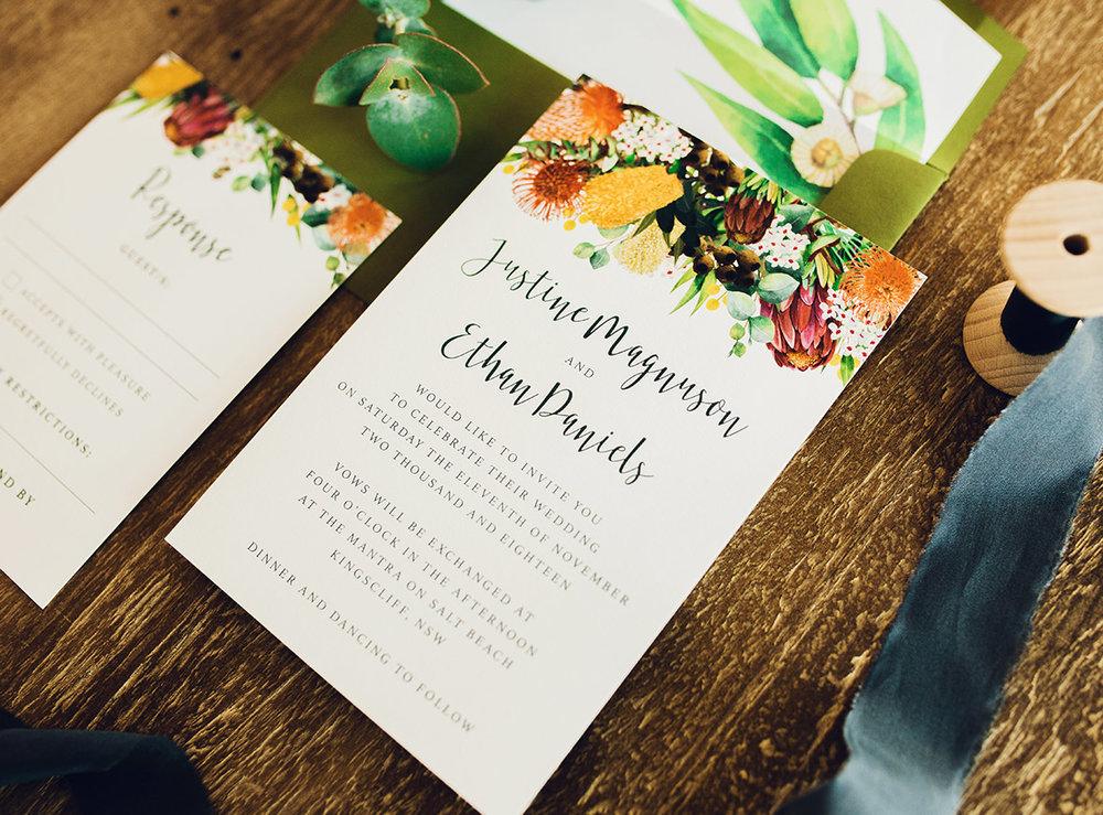 Australian natives, eucalyptus, greenery, wedding invitation suite, envelope liner