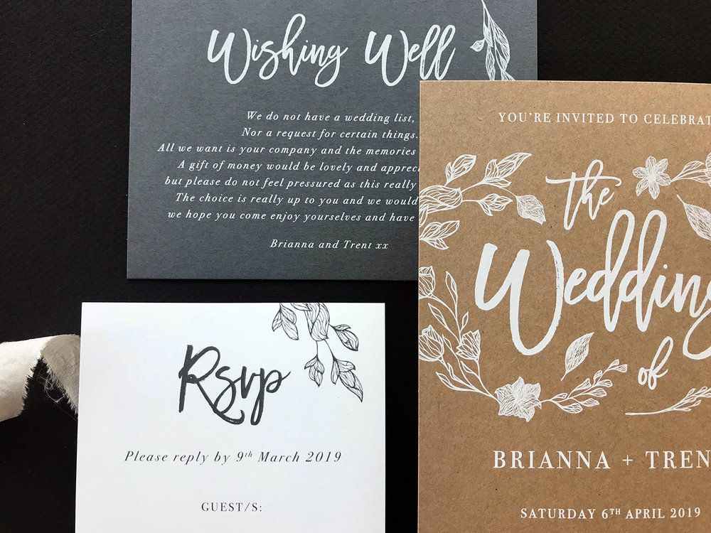 rustic elegant suite wedding invitation white ink kraft paper.jpg
