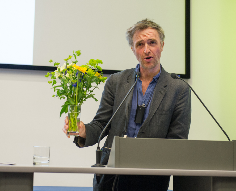 William Fiennes uses a floral prop © Cheryl-Samantha Owen