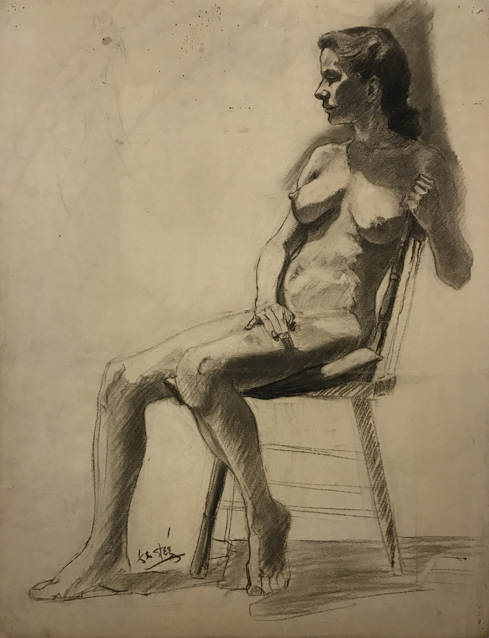 Early Figure study drawn at age 16, 1938