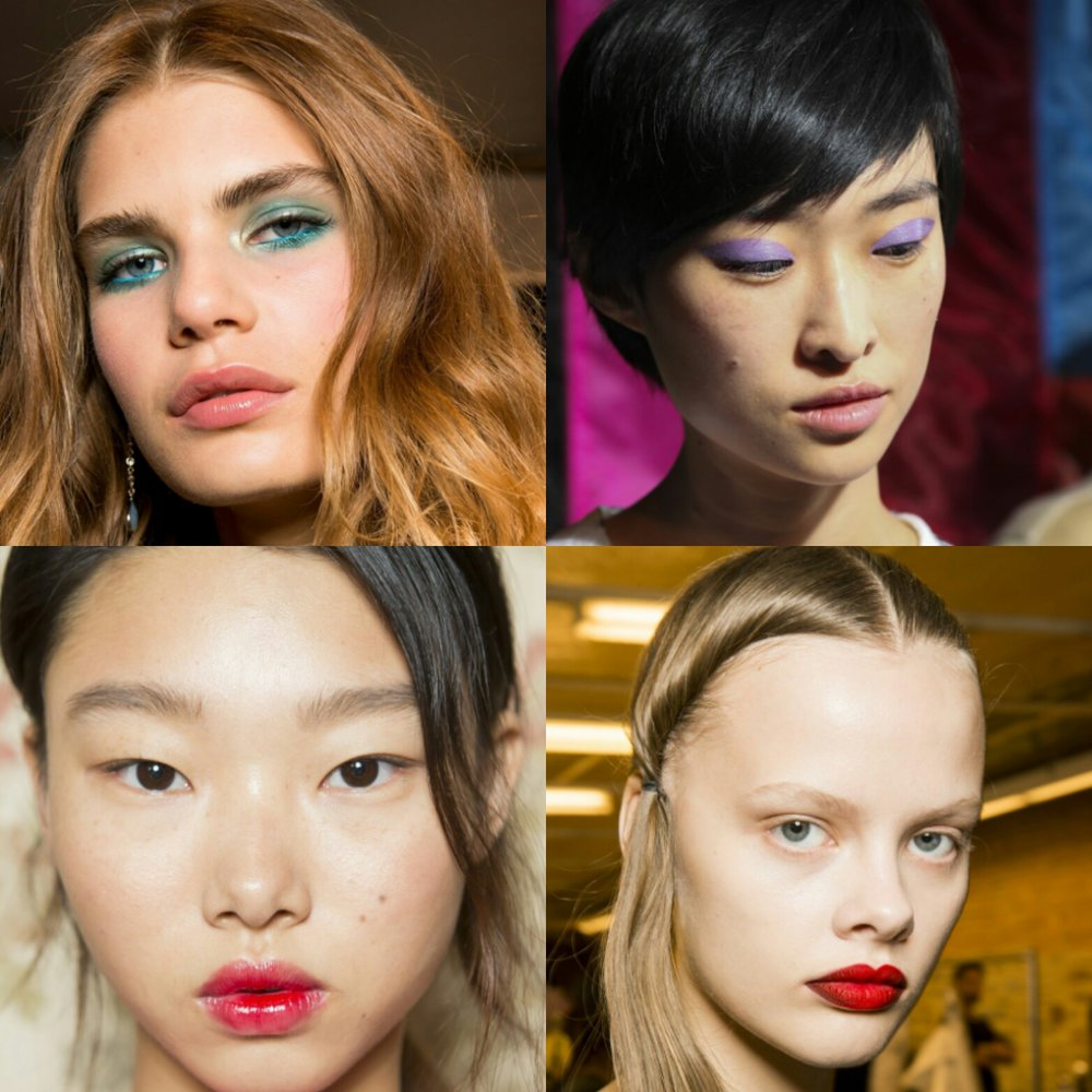 - UNIQUEThe emphasis is on colour – on either eyes or lips. Red in different textures dominates: matte, satin, glossy. The eyelids bearing colder colours: lilac, lime, emerald.