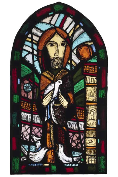 St Francis , 2010, stained glass  45 x 26 in / 114 x 66 cm