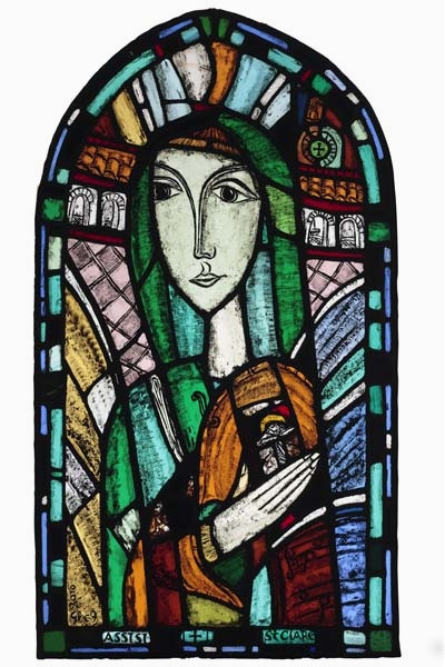 St Clare , 2010, stained glass  45 x 25 in / 114 x 63.5 cm