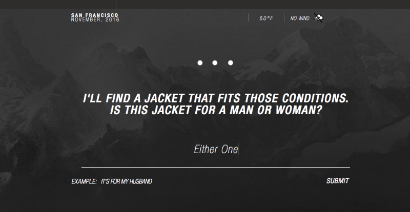 North Face shoppers can answer a series of questions to find the perfect gift on the brand's site