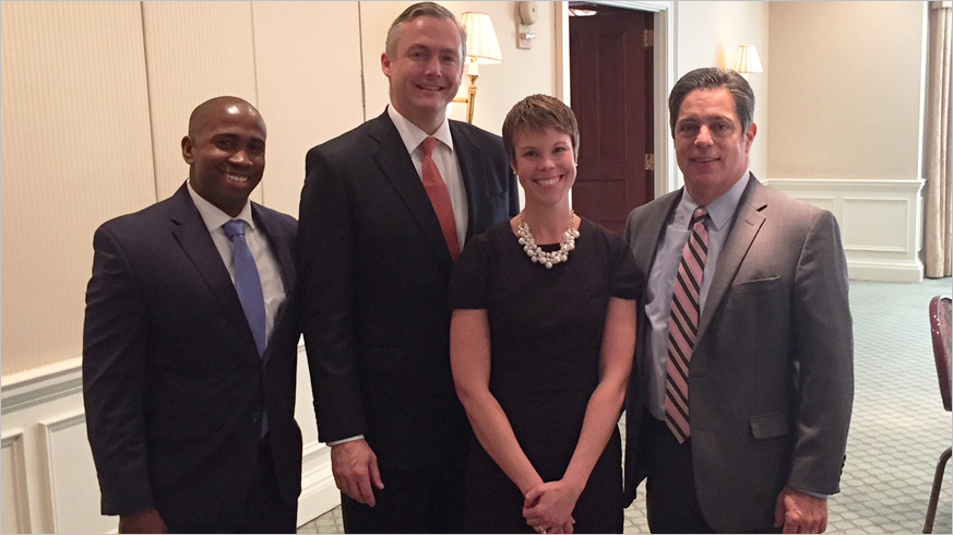 Senate Democratic Leader Jay Costa with the GPCC's Matt Smith, Jenn Beer and Brandon Mendoza