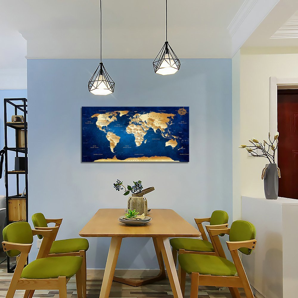 Ocean blue world map - Fancy a bit more color? Look at this stunning world map decorating your wall. The dark blue colors are as mysterious as the ocean itself!
