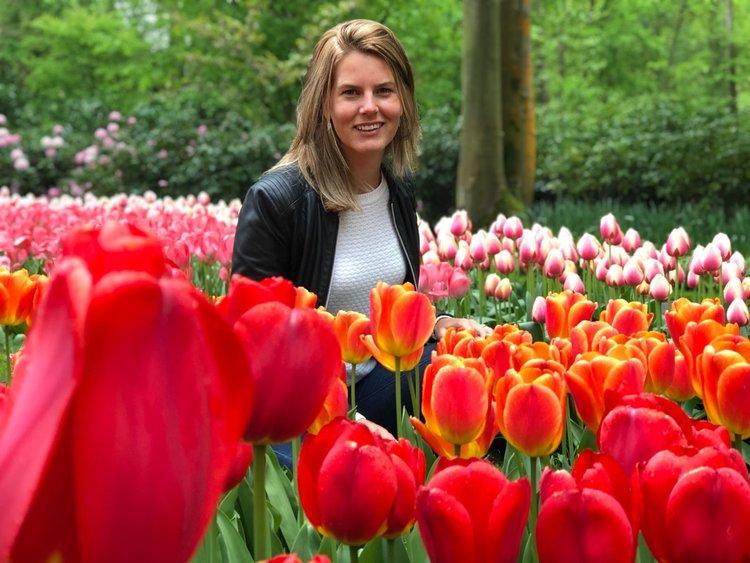 Josien Galama in a tulip field