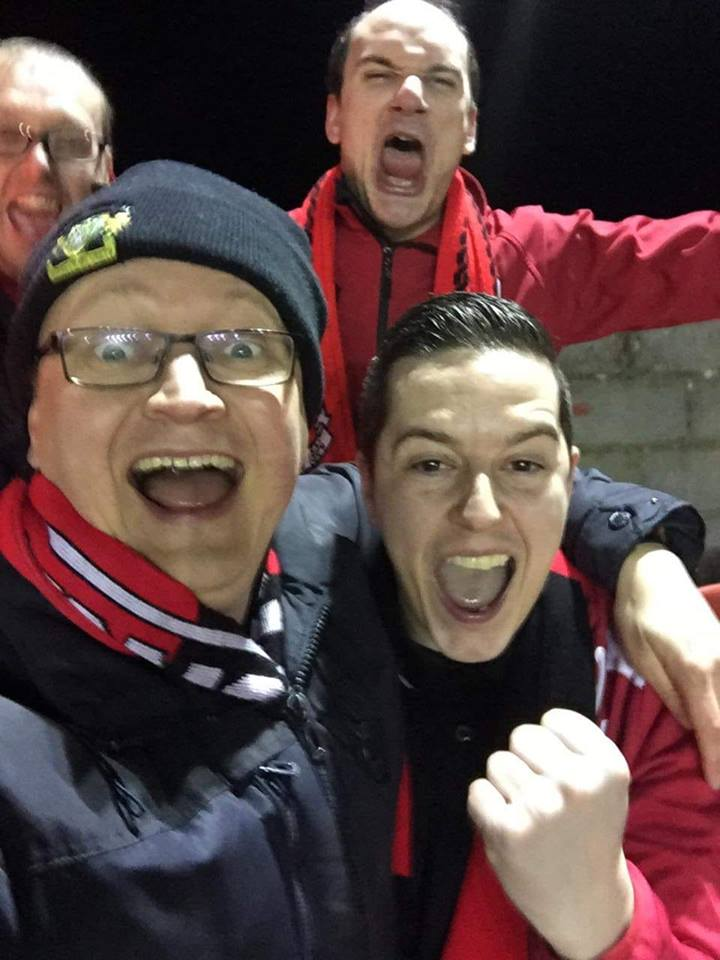 Between the Stripes LOI podcast co-hosts, Kieran Burke (lower right) and Jon Brier (lower left) celebrate with Section O after Longford Town's 2-0 home win over Shelbourne scooped the pair over €700 each!