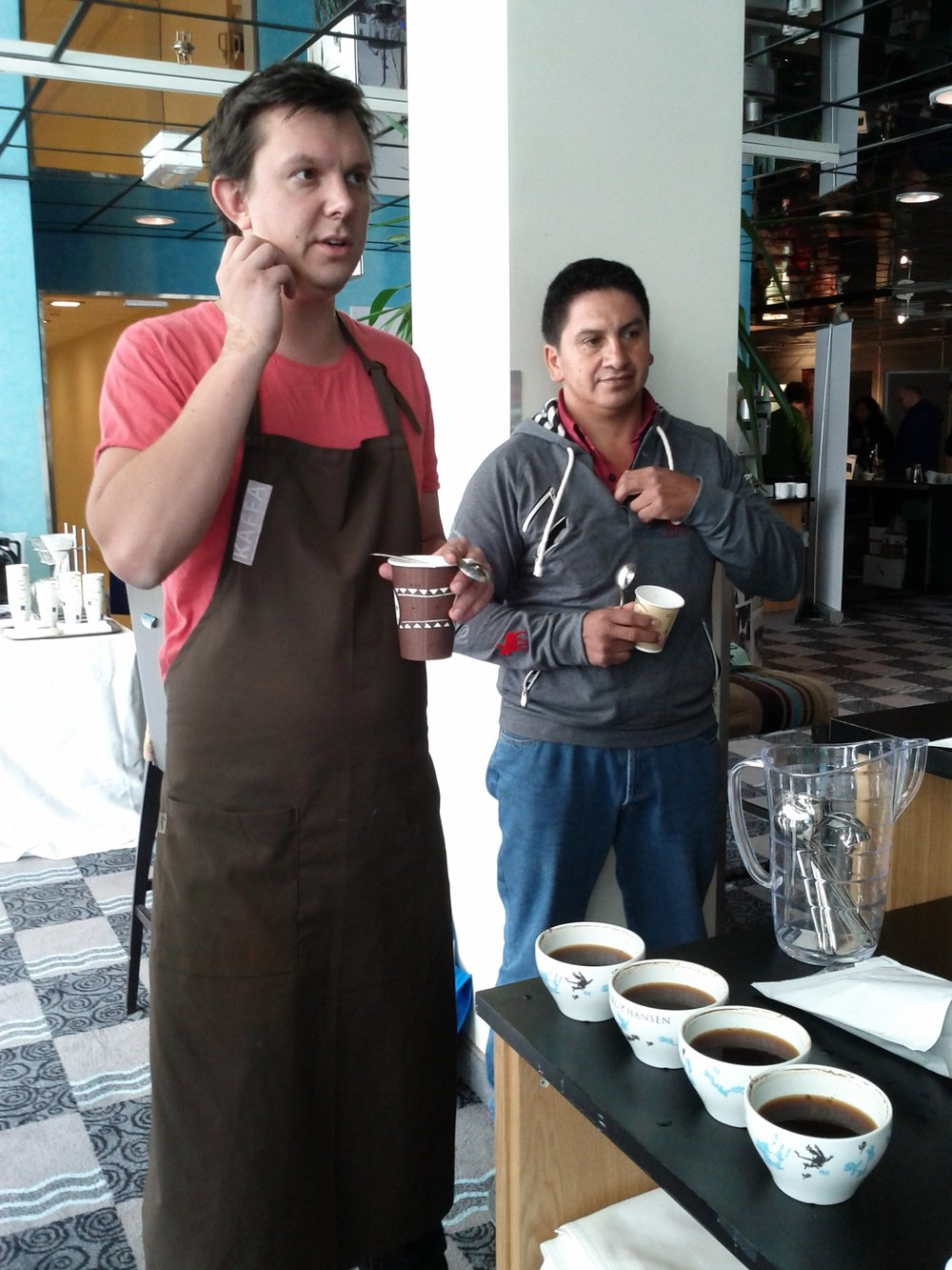 Cupping his and other Colombian coffee