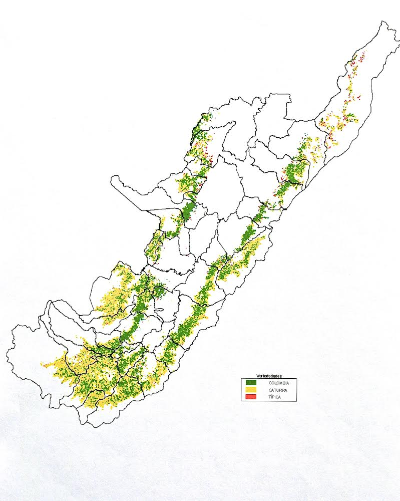 FNC map of varietals in Huila, 2010. Pre-Castillo Era: Still predominantly Caturra (green) and Colombia (yellow, a Catimor-hybrid), pockets with Typica predominantly in the north.