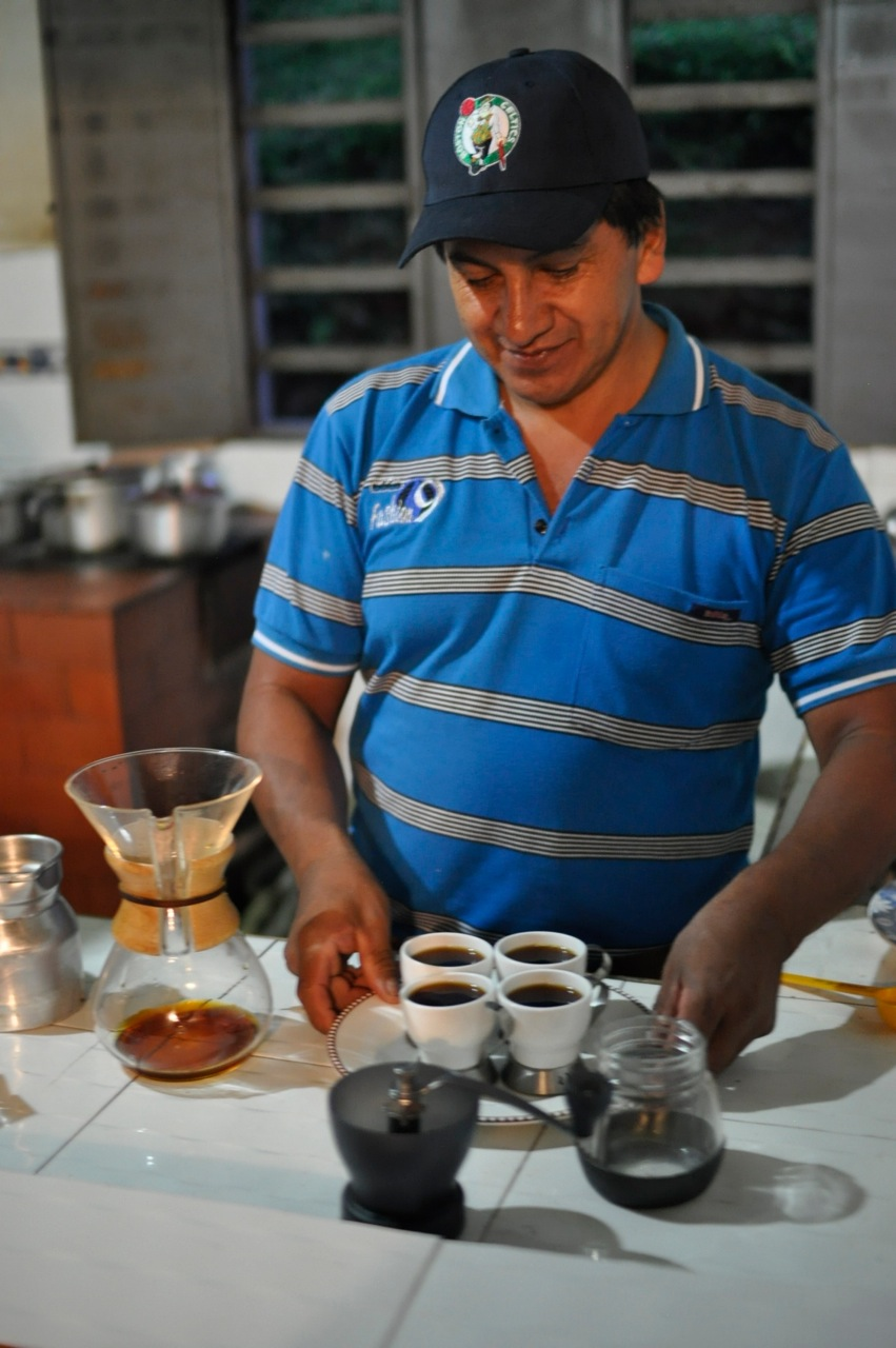 Omar Viveros brewing Chemex at his house in Pitalito, Huila. He is avialable on Instagram at @FINCAMIRAFLORES