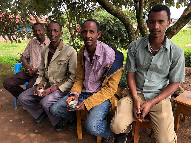 Asamamaw Waldamaria (far left) and his brothers; Bitta Farm, Bitta Town