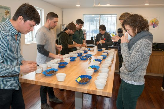 Regular cuppings are held in the CoRo Cupping Room. Image courtesy of  Bay Area CoRoasters .