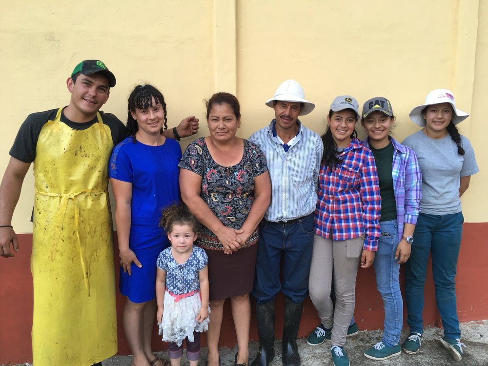 Familia Calderón Martinez of Grantios de Ortiz micro mill in Tarrazú, Costa Rica. The four sisters, from left Jocksileny, Joyce, Johana and Diana Calderón Martínez, run the  beneficio  while their father, Omar, manages the family's coffee plantations.