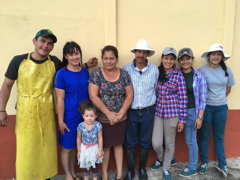 Familia Calderón Martinez of Grantios de Ortiz micro mill in Tarrazú, Costa Rica. The four sisters, from left Jocksileny, Joyce, Johana and Diana Calderón Martínez, run the  beneficio  while their father, Omar,manages the family's coffee plantations.
