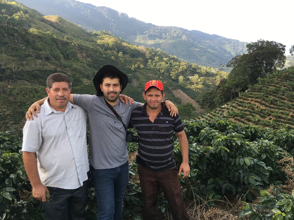 From L: Miguel Moreno, Benjamin Paz & Danny Moreno, Santa Barbara, Honduras. Brothers Miguel and Danny are from the Moreno family, who have been partners and friends of CCS founder, Robert Thoresen, for over 12 years. Benjamin is both producer and exporter of the coffees we source from Santa Barbara.
