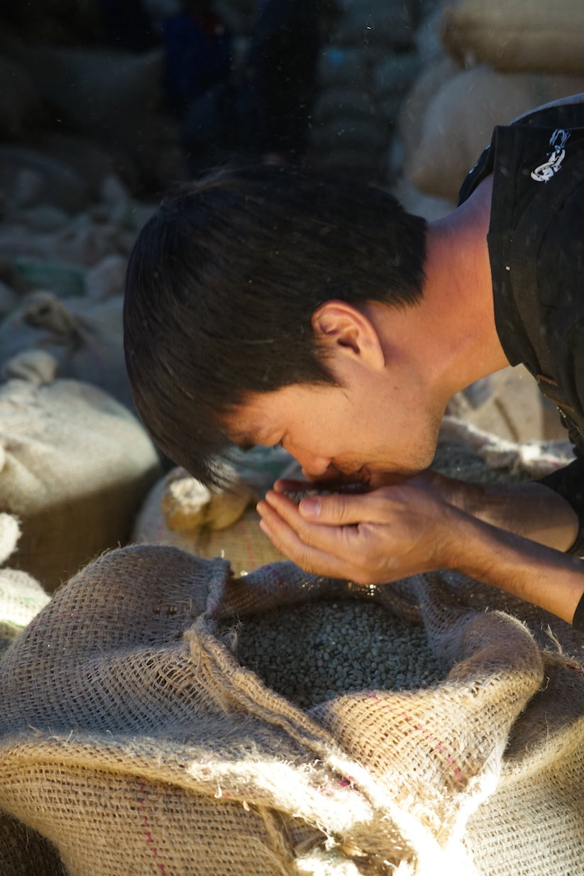 Stanley from Green Coffee Gallery, Taiwan, at the  Gidhe A Washing Station
