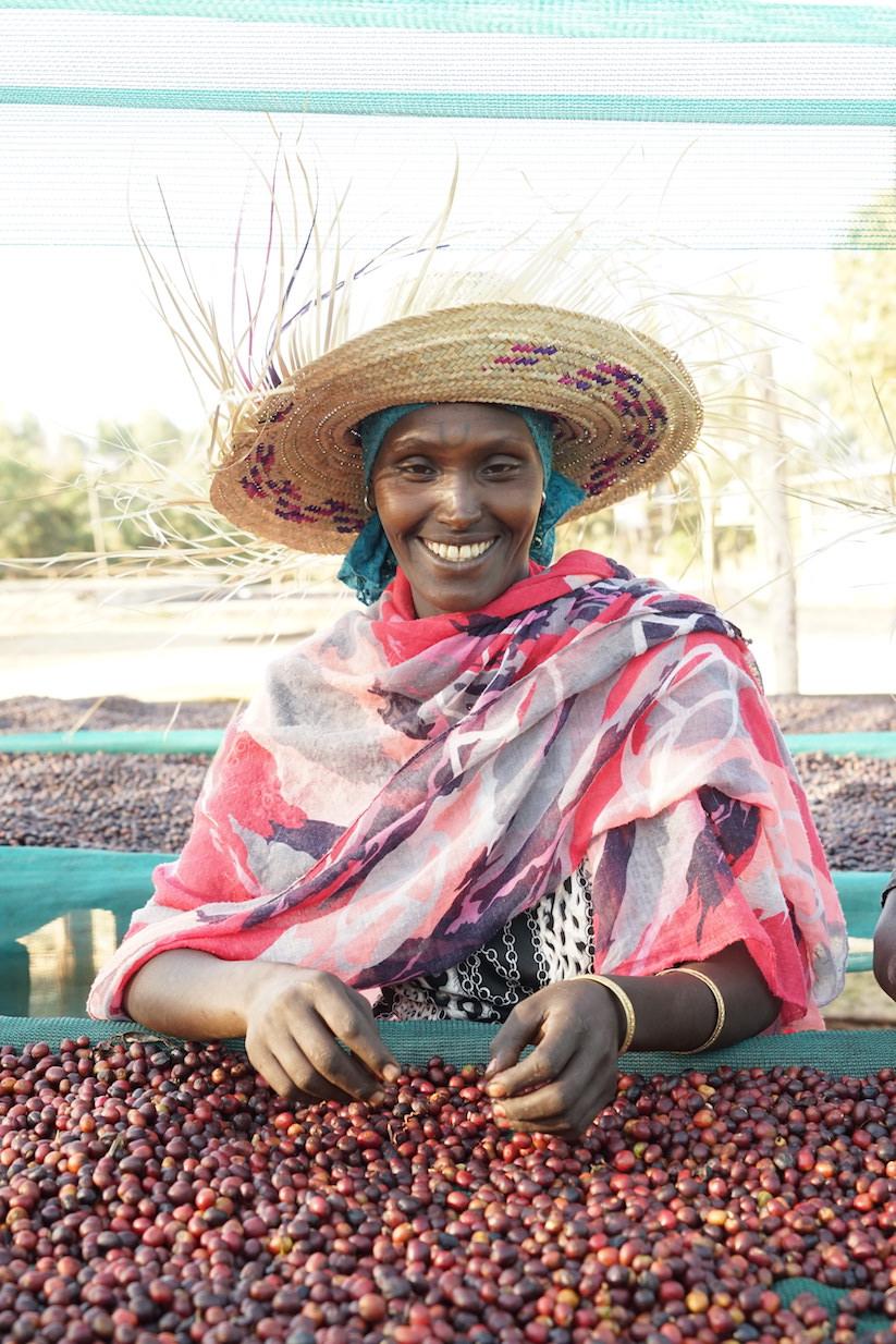 Muluka, sorting natural coffees at Gidhe A Washing Station, Ethiopia