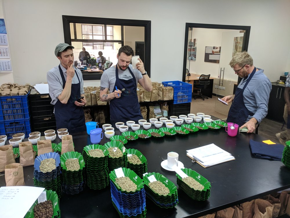 Decisions are hard - Will (left, Tandem Coffee Roasters), Ondrej (middle, Doubleshot) and Robert grapple with the difficult task of selecting the best of the best.