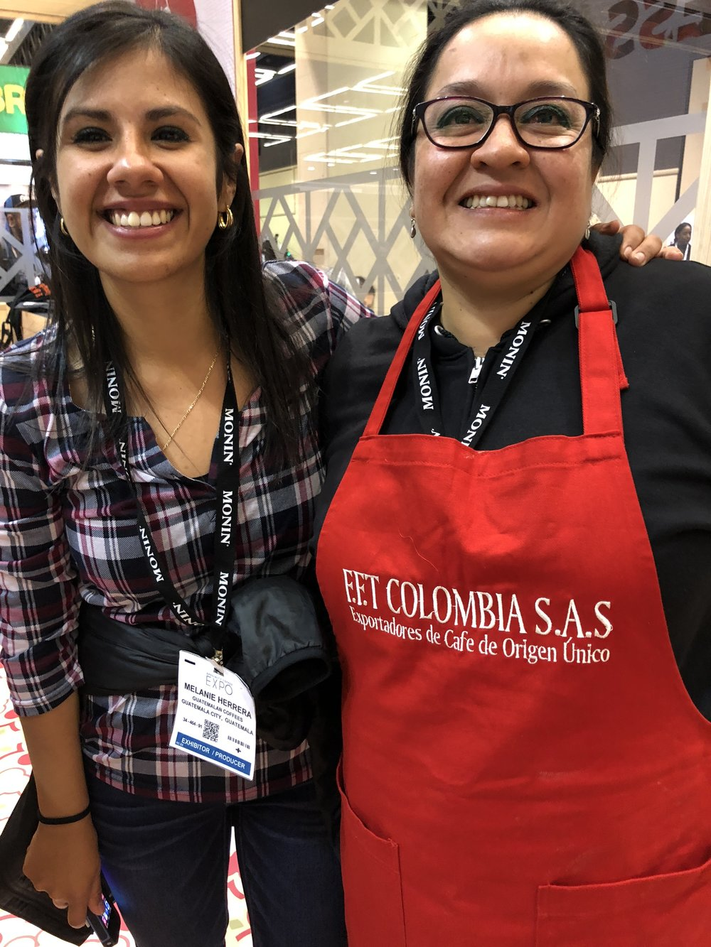 Dulce Barrera (right), winner of the CCS Colombia Tasters Challenge, with Melanie Herrera, both from Bella Vista Mill, Guatemala
