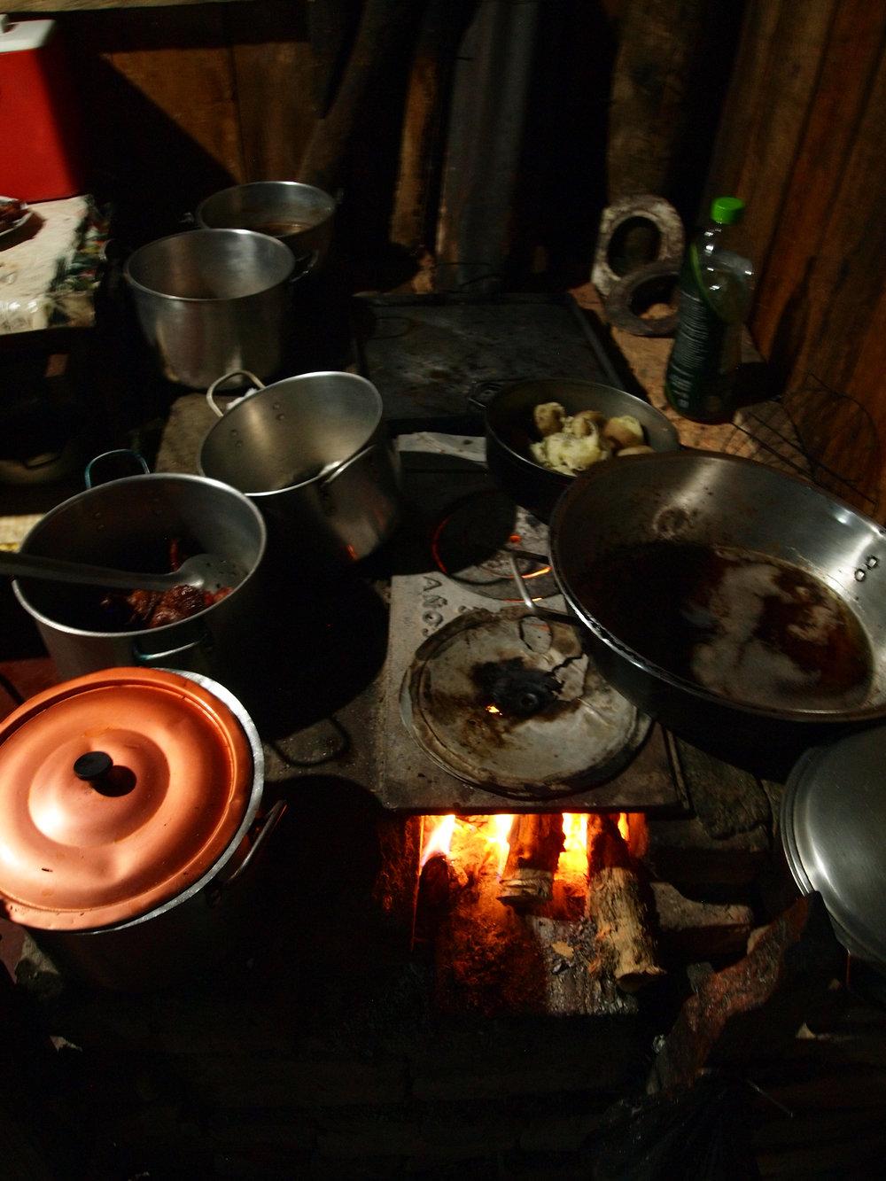 Dinner cooked by Maria Bercelia Martinez, La Marimba, Acevedo, Huila