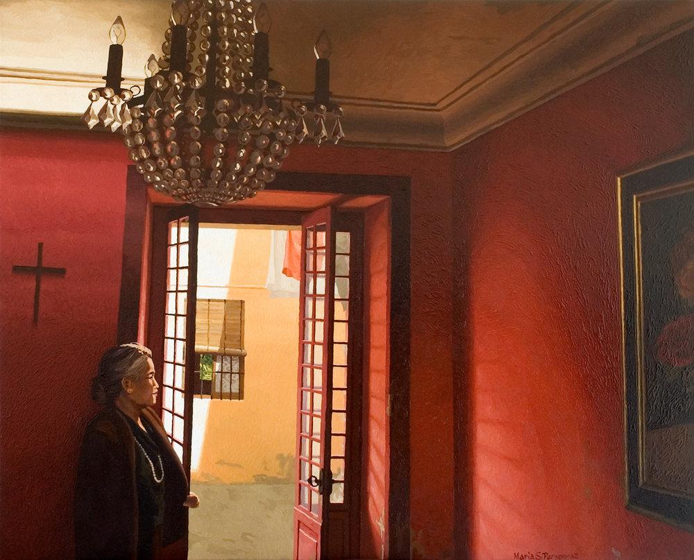 Intérieur rouge avec lustre