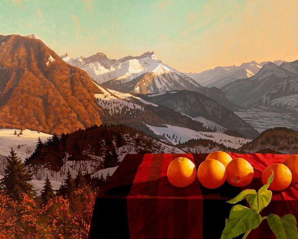 Oranges et les Alpes vues de Leysin