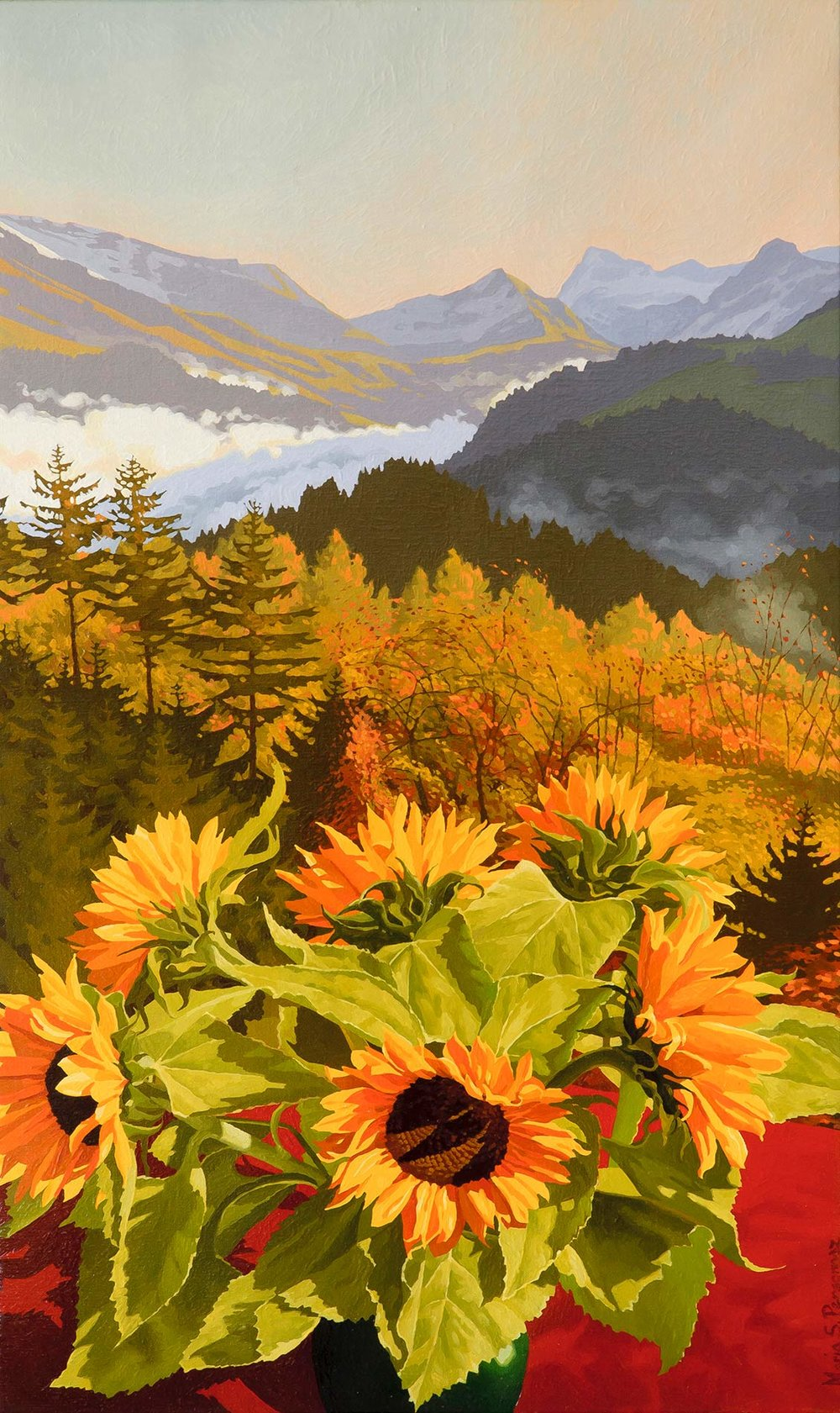 Sunflowers and a valley in the morning