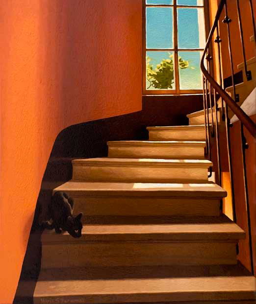 Yellow staircase with kitten